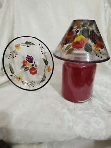 Yankee Candle Fruit Themed Crackle Glass Shade and Plate - EUC