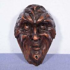 """*6"""" French Antique Hand Carved Walnut Wood Man's Head Salvage Trim"""