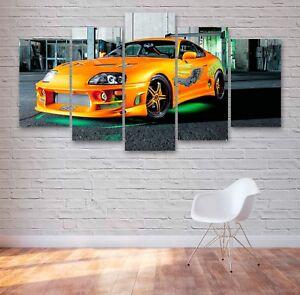 Toyota Supra Fast & Furious 5 Panel Canvas, 5 Piece Wall Art, Multi Panel #051