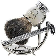 Parker 29L Shave Set - Safety Razor, Stand & 100% Black Badger Brush Included