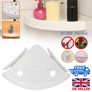 3x Bathroom Triangular Shower Shelf Bath Corner Storage Holder Organizer Rack UK