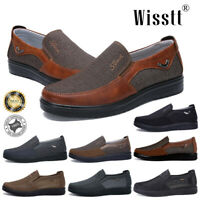 Mens Splicing Leather Slip On Loafers Boat Casual Sports Breathable Outdoor Shoe