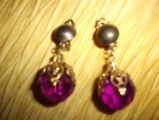 Dangle Clip On Earrings Vintage Pair Of Purple