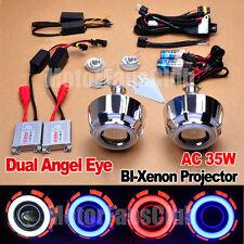 "2.5"" HID BI-Xenon Projector Lens Kit Headlights LED Dual Angel Eyes Halo AC 35W"