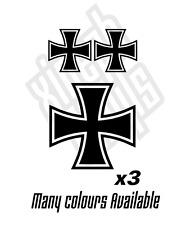 3 x Iron cross vinyl stickers decals window laptop ipad set choose colour