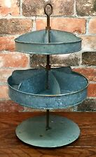 Rustic Primitive Two Tier Divided Vintage Rotating Metal Storage or Serving Tray