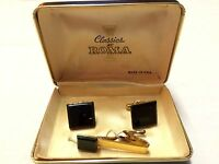 VINTAGE Gold Colored Metal BLACK ONYX STYLE STONE Mens CUFF LINKS & TIE BAR Set