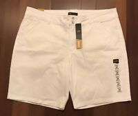NWT LEE Women's Straight Fit Tailored Chino Bermuda Short PINK OR WHITE