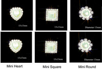 10 GRADE A DIAMANTE & PEARL EMBELLISHMENTS MINI HEART,SQUARE OR ROUND RHINESTONE