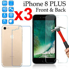 x3 Tempered Glass 9H screen protector Apple iPhone 8 PLUS Front + 4H Back