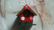 UNIQUE SMALL DECORATIVE WOODEN BIRD HOUSE BOX WITH HANGER AND A ROBIN