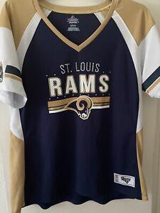 St Louis Rams Ladies Size XXL Tee With Bling  Majestic Fan Favorite