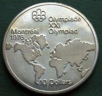 1976 Canada Coin 10 Dollars Elizabeth II Map of the World Silver (.9000) KM# 86