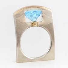 Tension Round Light Blue Stone Ring Tomasz Plodowski Sterling Silver 14K Gold