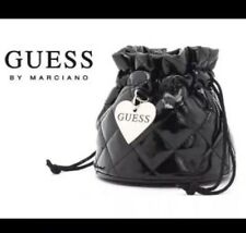 GUESS Black Drawstring Quilted Patent Leather Storage Pouch Bag For Jewelry