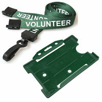 Best Price Green Volunteer Lanyard & Green ID Card Holder FREE DELIVERY Lot