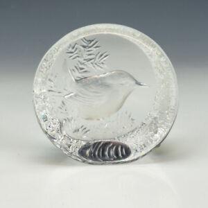 Mats Jonasson - Scandinavian Glass Wren Bird Paperweight - Lovely!