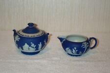 Antique Wedgwood Cobalt Blue Sugar Bowl w/ Lid & Creamer Cream Pitcher England