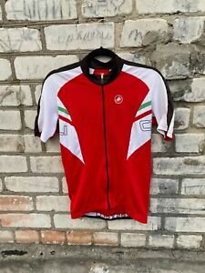 Castelli Cycling   Bicycle Full Zip jersey White/Red  size L Men
