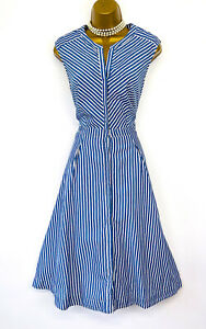 Phase Eight Blue White Striped Cotton Summer Fit Flare Dress size 12 14 Holiday
