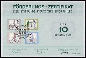 SPORTHILFE ZERTIFIKAT 1985 CERTIFICATE GERMAN OLYMPIC COMMITTEE RADFAHREN za50