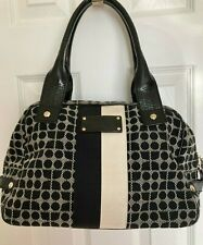 Kate Spade Black and White Canvas Handbag with Black Patent Leather Trim