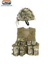 KIDS ARMY ASSAULT OUTFIT SOLDIER FANCY DRESS COSTUME BOYS BTP VEST + HELMET