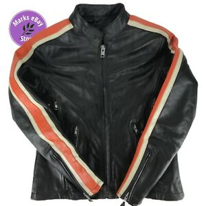 Leather King Genuine Thick Leather Striped Rally Motorcycle Jacket Ladies Small