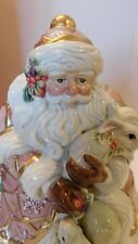 Fitz and Floyd Snowy Woods Santa Biscuit Cookie Jar 1996 Retired Gorgeous!