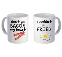 Bacon and Fried Printed mug pair Couple Love Valentines Gift Cute Vintage Funny