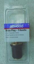 "Attwood T-Handled Non-Corrosive Brass 1"" Drain Plug 7526A7"