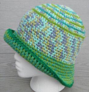 Elegant Green Mix Pastel Shades Medium Crocheted Cloche - Handmade by Michaela