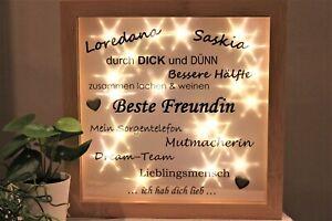 """♥ LED Bilderrahmen beleuchtet """"Beste Freundin"""" Geschenk mit Namen Batterien ♥"""