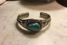 1970's PAWN TURQUOISE NAVAJO SILVER CUFF BRACELET Will Vanderveer