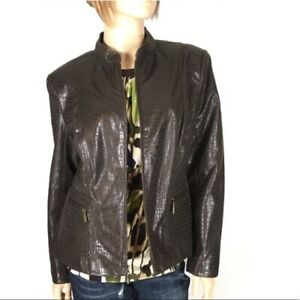 Womens Brown Bomber Jacket Size Medium Reptile Print Zip Joni B