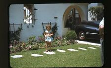 1950s Kodachrome Photo slide  Young girl in front yard Car Los Angeles CA