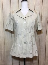 NIKA SHORT SLEEVE SHEER GRAPHIC DESIGN BUTTON FRONT BLOUSE SIZE 46 (2-B)