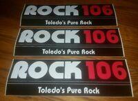 Set Of 3- ROCK 106 Radio station bumper sticker Toledo Ohio home of Howard stern