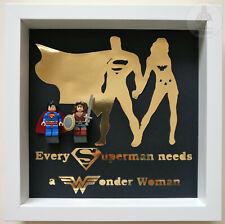 LEGO Mr and Mrs Superman Wonder Woman Minifgure 3D Frame Valentines Wedding Gift