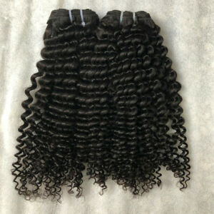 2pcs/100G natural color Kinky Curly hair 16inches Extensions Weaving Weft 16''