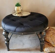 OTTOMAN COFFEE TABLE ROUND BLACK VELVET FABRIC TUFTED DESIGN 82CM