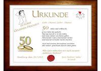 """Neu*Wunderschöne Urkunde zum"""" 50. Hochzeitstag """"/ zur *Goldenen Hochzeit"""