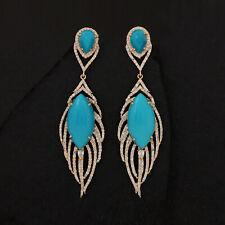 14k Yellow Gold Arizona Turquoise Gemstone Feather Dangle Earrings Diamond Pave