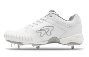 Ringor - Women's Flite Metal Spike Pitching Cleats (10.0 White/Silver)