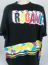 Rocawear 2XL XXL Spell Out Graphic Retro Colorful Tee T-Shirt Black Cotton