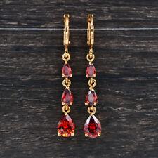 Classic Women Red Garnet Pear Brilliant Cubic Zirconia Long CZ Drop Earrings