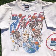 VTG 90s USA Olympic Dream Team 1992 Caricature Head Jordan Magic Bird T Shirt L