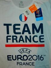 NEW Mens White Official UEFA Euro 2016 FRANCE T-Shirt Soccer Football World Cup