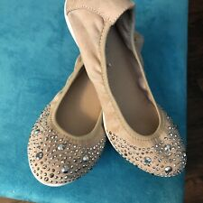Me Too Halle Ballet Flats Nude With Sparkly  Embellishment 71/2 Worn Once