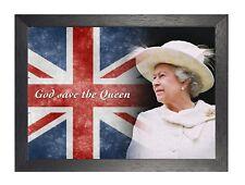 God Save The Queen A3 Elizabeth United Kingdom English Poster UK Flag Photo